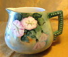 Antique Hand Painted CIDER PITCHER w Morning Glory Flowers/Gold Rim/Bump Handle