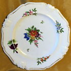 Antique 19th c DERBY Porcelain Plate Hand Painted Flowers + Crown Mark
