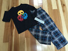 NWT SKELETON FLEECE PANTS LONG SLEEVE TOP PAJAMA SET Sz 4-5 Boy By CHEROKEE