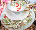 GERMANY GERMAN TEA CUP AND SAUCER TRIO STRAWBERRY PATTERN PAINTED TEACUP