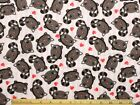 SNUGGLE FLANNEL GRAY KITTY CAT  HEARTS on PINK STRIPE 100 Cotton Fabric BTY