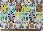 SNUGGLE FLANNEL MULTI COLOR CHUBBY CATS on WHITE 100 Cotton Fabric BTY