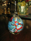 Heavy EICKHOLT GLASS PERFUME BOTTLE: Muted Coral Reef, Reds ,Blues, 6 1/4