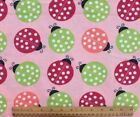 SNUGGLE FLANNEL LARGE MULTI COLOR LADYBUGS on PINK100 Cotton FabricNEW BTY