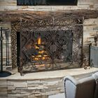 Indoor Darcie Copper Brown Finish Wrought Iron Fireplace Screen