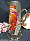 Antique Pouyat LIMOGES Tankard Pitcher STUNNING PAINTED PORTRAIT PATTERN
