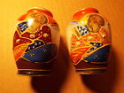 VINTAGE OCCUPIED JAPAN PAIR OF TWO SMALL HAND PAINTED VASE SATSUMA??