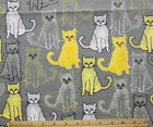 SNUGGLE FLANNEL YELLOW WHITE GRAY CATS on GRAY 100 Cotton Fabric BTY