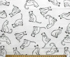 SNUGGLE FLANNEL  KITTY CAT SKETCHES on WHITE  100 Cotton FabricNEW BTY