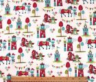 SNUGGLE FLANNEL CASTLES  DRAGONS on WHITE 100 Cotton FabricNEW BTY