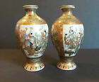 PAIR ANTIQUE JAPANESE SATSUMA 45 MINIATURE VASES FIGURAL DECORATION
