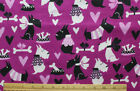 SNUGGLE FLANNEL SCOTTIE DOG on PURPLE NEW 100 Cotton Fabric BTY