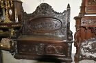 Antique French Bench Decorative Foyer Seating, Carved Portrait Art Rendering