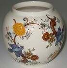 Small Round Sadler Ginger Jar Vase Blue Birds Flowers ** NO LID