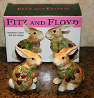 FITZ & FLOYD Blackberry Rabbit Salt & Pepper Shakers MINT In Box