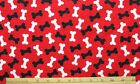 SNUGGLE FLANNEL BLACK  WHITE DOG BONES on RED 100 Cotton NEW BTY