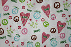 SNUGGLE FLANNEL  LOVE  PEACE on WHITE 100 Cotton Fabric NEW BTY