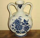 Delft Blauw Distel Double Handled Vase Made In Holland Thistle Mark Vintage