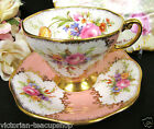 FOLEY TEA CUP AND SAUCER ROSES PAINTED PEACH  PATTERN  FLORAL CHINTZ TEACUP