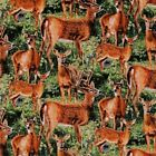 Wild Wings Cradle Rock Packed Deer Buck Doe in Grass Cotton Fabric by the Yard