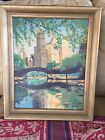 CENTRAL PARK BRIDGE OIL PAINTING ON BOARD SIGNED GEORGE GILL 1953