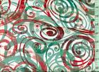 1 2 yard Snuggle FLANNEL Christmas Colors Red Green Swirls on Off White BTHY