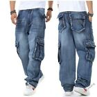 Mens Classic Denim Jean Loose Trouser Hip Hops Baggy Pockets Cargo Vintage Pants