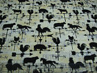 3 Yards Quilt Cotton Fabric- Clothworks Tourtillote French Country Roosters Vane