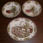 3 Pcs Johnson Bros Friendly Village China Platter & 2 Round Serving Bowls
