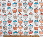 SNUGGLE FLANNEL  CUPCAKES on WHITE 100 Cotton Fabric NEW BTY