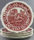 ESTATE DINNERWARE- OLDER SPODE TOWER PATTERN IN RED 6 PC LOT 10.5