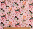 SNUGGLE FLANNELEQUESTRIAN JUMPING HORSES on PINK100 Cotton Fabric 1 Yd 34