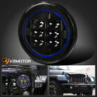 7 Round Jeep Motorcycle Black Cree LED Clear Blue Rim Strip Projector Headlight
