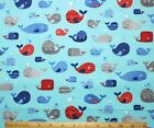 SNUGGLE FLANNEL HAPPY DESIGNER WHALES on SEA BLUE 100 Cotton Fabric BTY