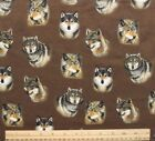 SNUGGLE FLANNEL  WOLF HEADS on BROWN  100 Cotton Fabric NEW  BTY