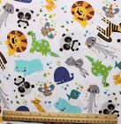 SNUGGLE FLANNEL BABY ZOO ANIMAL on WHITE  100 Cotton Fabric NEW BTY