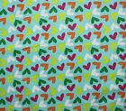 SNUGGLE FLANNEL LOVE HEARTS on AQUA BLUE 100 Cotton Fabric NEW BTY
