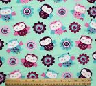 SNUGGLE FLANNEL OWLS  FLOWERS on PASTEL GREEN  100 Cotton Fabric NEW BTY