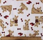 SNUGGLE FLANNEL BIG BROWN DOG w RED PLAID on CREAM100 Cotton Fabric NEW BTY