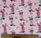 SNUGGLE FLANNEL PINK SOUTHWEST COWBOY BOOTS on PINK 100 Cotton Fabric NEW BTY