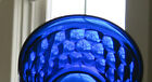 Jeanette Cobalt Blue Glass  PAIR of  BOWLS  - QGC  Hexagon / Honeycomb Pattern