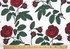 SNUGGLE FLANNEL STEMMED BEAUTIFUL DEEP RED ROSES on WHITE 100 Cotton NEW BTY