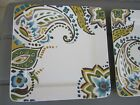 Home Trends KASHMIR Square DINNER PLATES (2) - Mint condition ~FREE SHIPPING