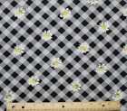 SNUGGLE FLANNEL BLACK GRAY PLAID  WHITE DAISIES 100 Cotton Fabric NEW BTY