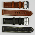 GENUINE OLD CALF LEATHER thick watch strap band 18mm-24mm brown black stitched