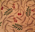Give Thanks by Angela Anderson BTY for VIP Berries Leave Wheat on Light Brown