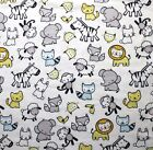 SNUGGLE FLANNEL BABY ANIMALS BLUE  YELLOW on WHITE 100 Cotton Fabric NEW BTY