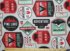 SNUGGLE FLANNEL ADVENTURE  CAMPING BADGES on GRAY100 Cotton Fabric NEW BTY