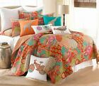EXOTIC MOROCCAN KING QUILT ORANGE AQUA TEAL BLUE YELLOW FUCHSIA READ LISTING