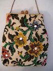 DELILL VINTAGE 1940s PETIT-POINT BEADED ELONGATED ONE OF A KIND BAG  ~EX. COND.